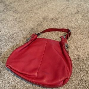 Coach used red leather HOBO bag